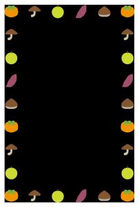 秋(食材)シンプル枠イラスト-縦