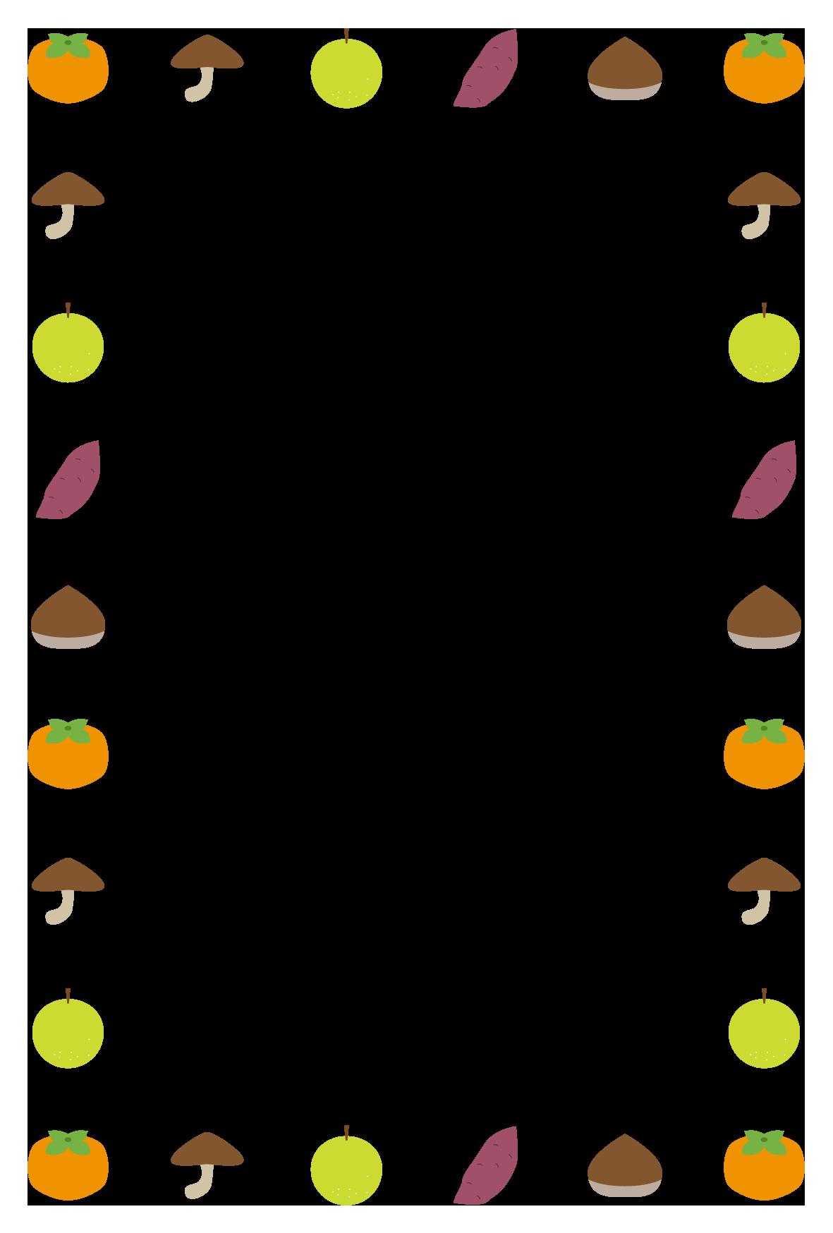 秋(食材)シンプル枠イラスト-縦 <無料> | イラストk