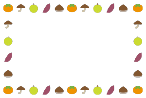 秋(食材)シンプル枠イラスト-横