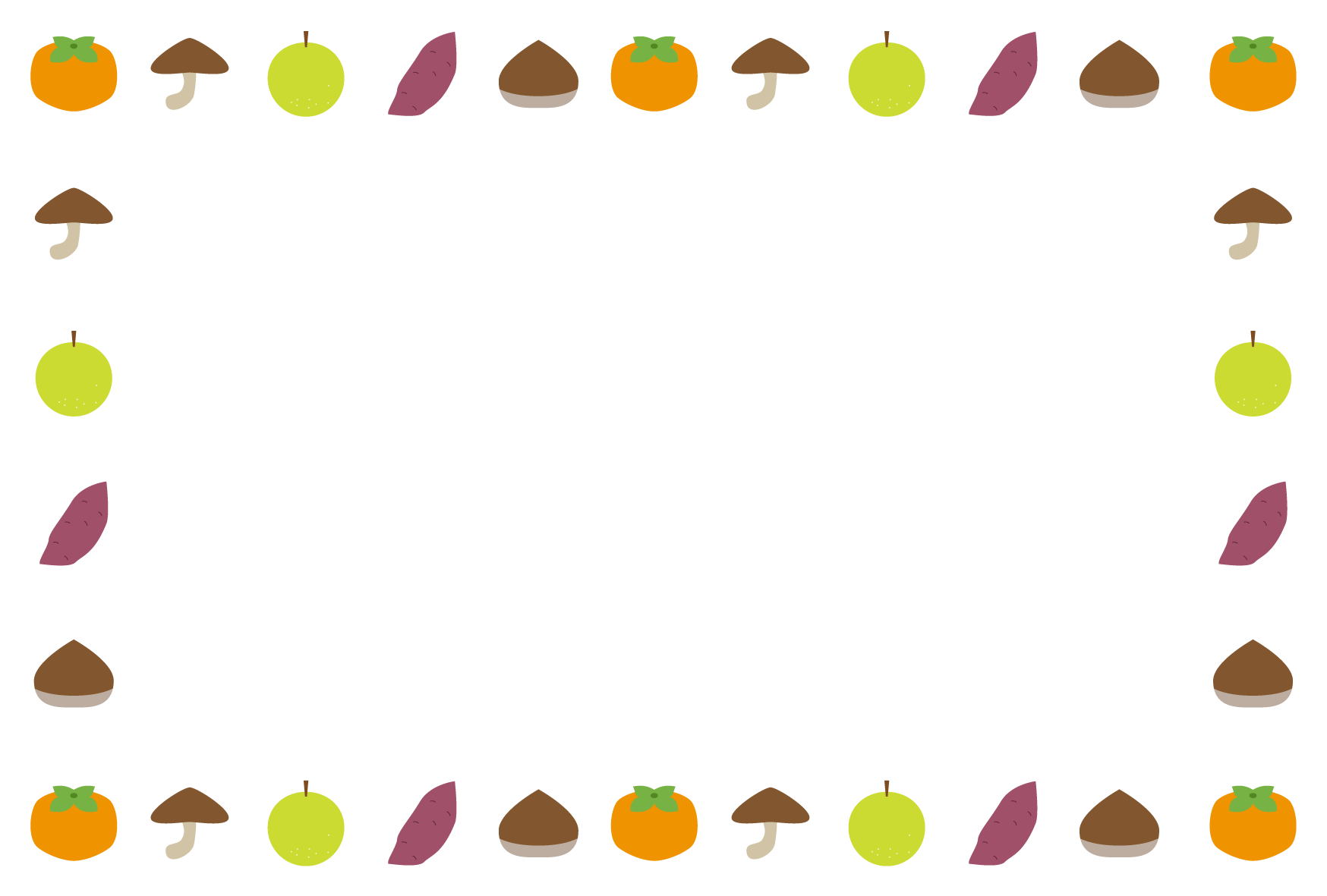 秋(食材)シンプル枠イラスト-横 <無料> | イラストk