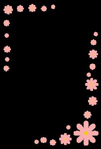 花(ピンク)のシンプル枠イラスト