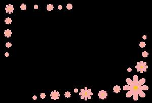 花(ピンク)のシンプル枠イラスト-横