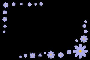 花(紫)のシンプル枠イラスト-横