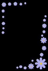 花(紫)のシンプル枠イラスト