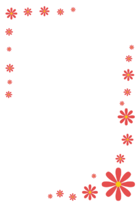 花(赤)のシンプル枠イラスト