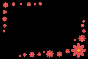花(赤)のシンプル枠イラスト-横