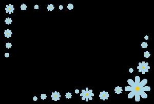 花(水色)のシンプル枠イラスト-横
