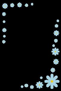 花(水色)のシンプル枠イラスト
