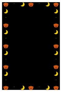 ハロウィンのシンプル枠イラスト-縦