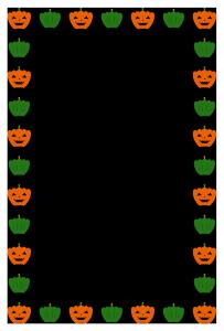 ハロウィンのシンプル枠イラスト-縦02