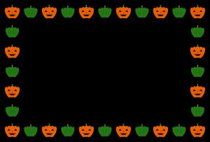 ハロウィンのシンプル枠イラスト02-横