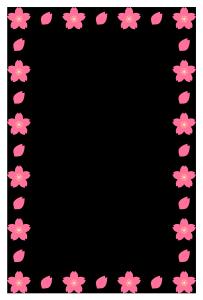 春(桜)のシンプル枠イラスト-縦