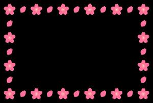 春(桜)のシンプル枠イラスト-横