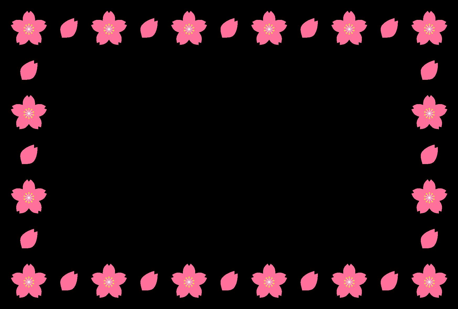 春(桜)のシンプル枠イラスト-横 <無料> | イラストk
