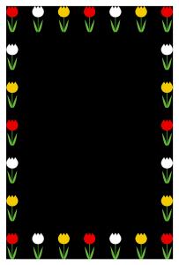 春(チューリップ)のシンプル枠イラスト-縦