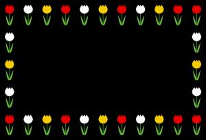 春(チューリップ)のシンプル枠イラスト-横