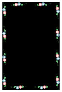 夏(朝顔)のシンプル枠イラスト-縦