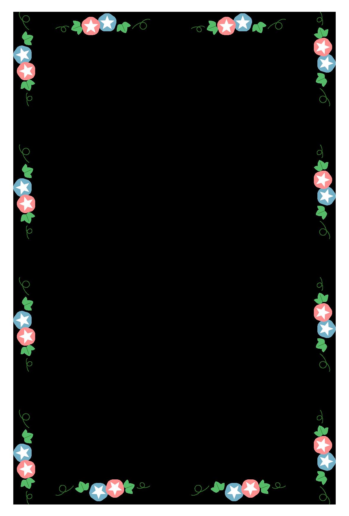 夏(朝顔)のシンプル枠イラスト-縦 <無料> | イラストk