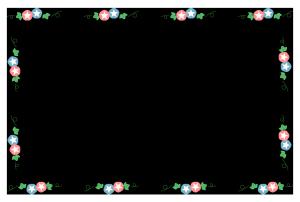 夏(朝顔)のシンプル枠イラスト-横