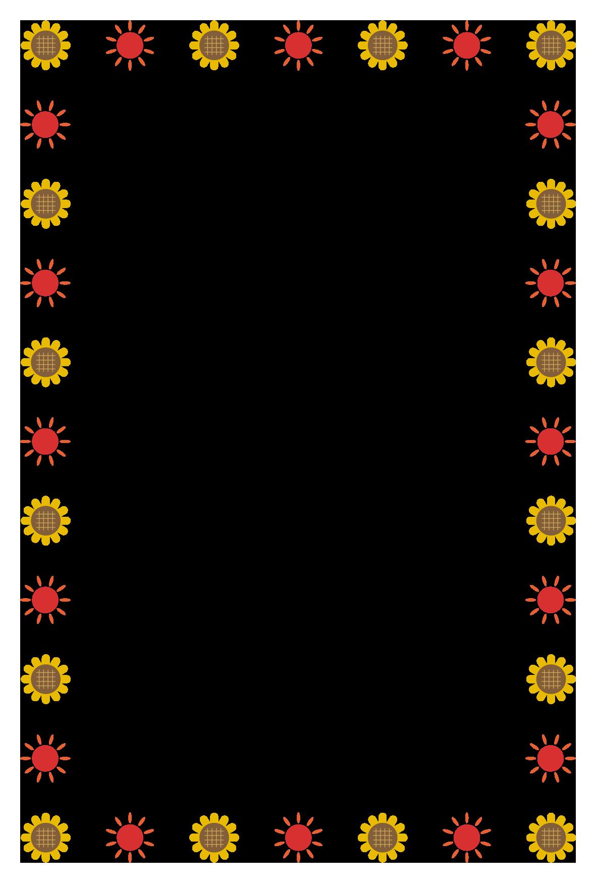 夏(ひまわり、太陽)のシンプル枠イラスト-縦 <無料> | イラストk