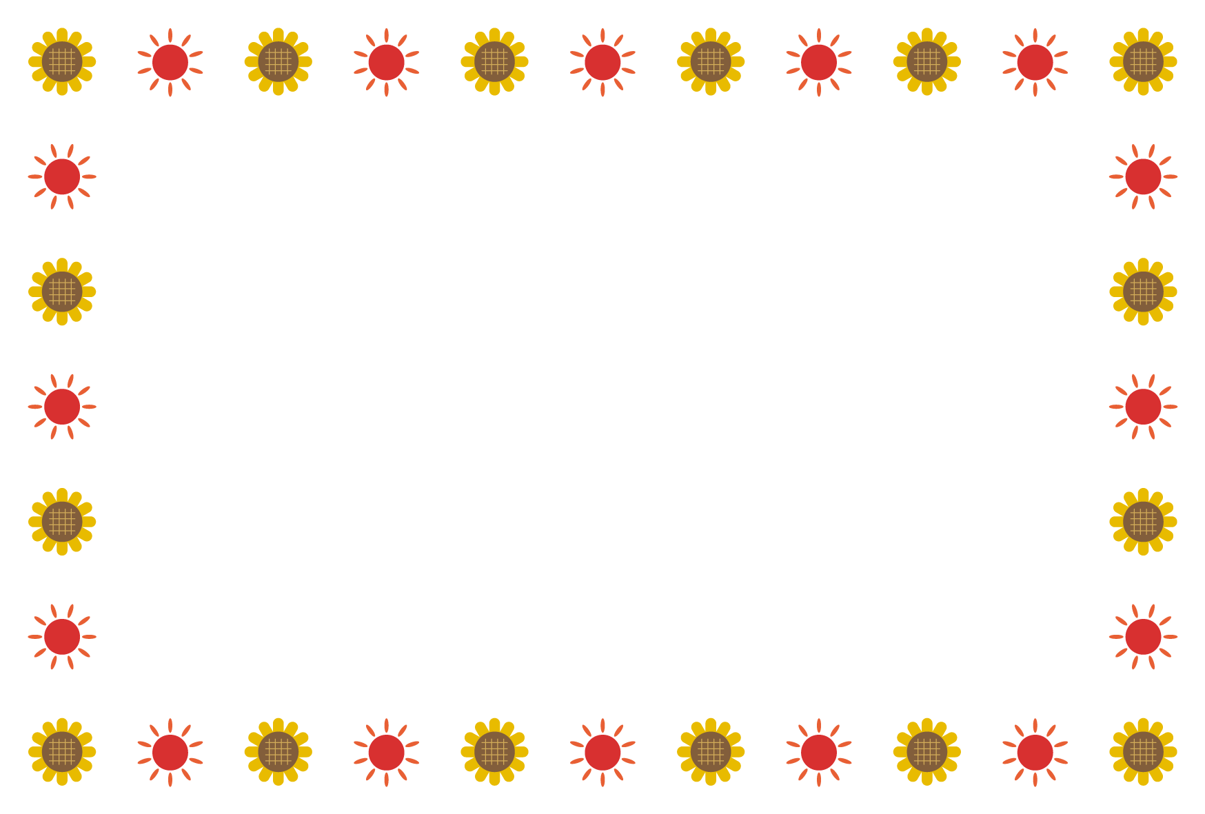 夏ひまわり太陽のシンプル枠イラスト 横 無料 イラストk