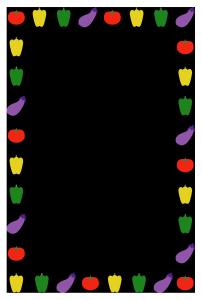 夏(野菜)のシンプル枠イラスト-縦