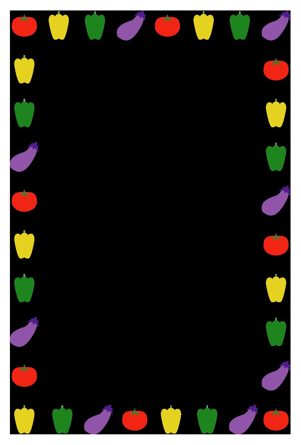 夏野菜のシンプル枠イラスト 縦 無料 イラストk