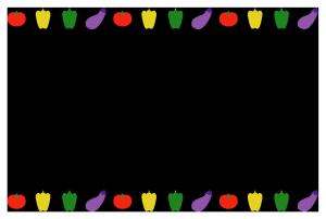 夏(野菜)のシンプル枠イラスト-横