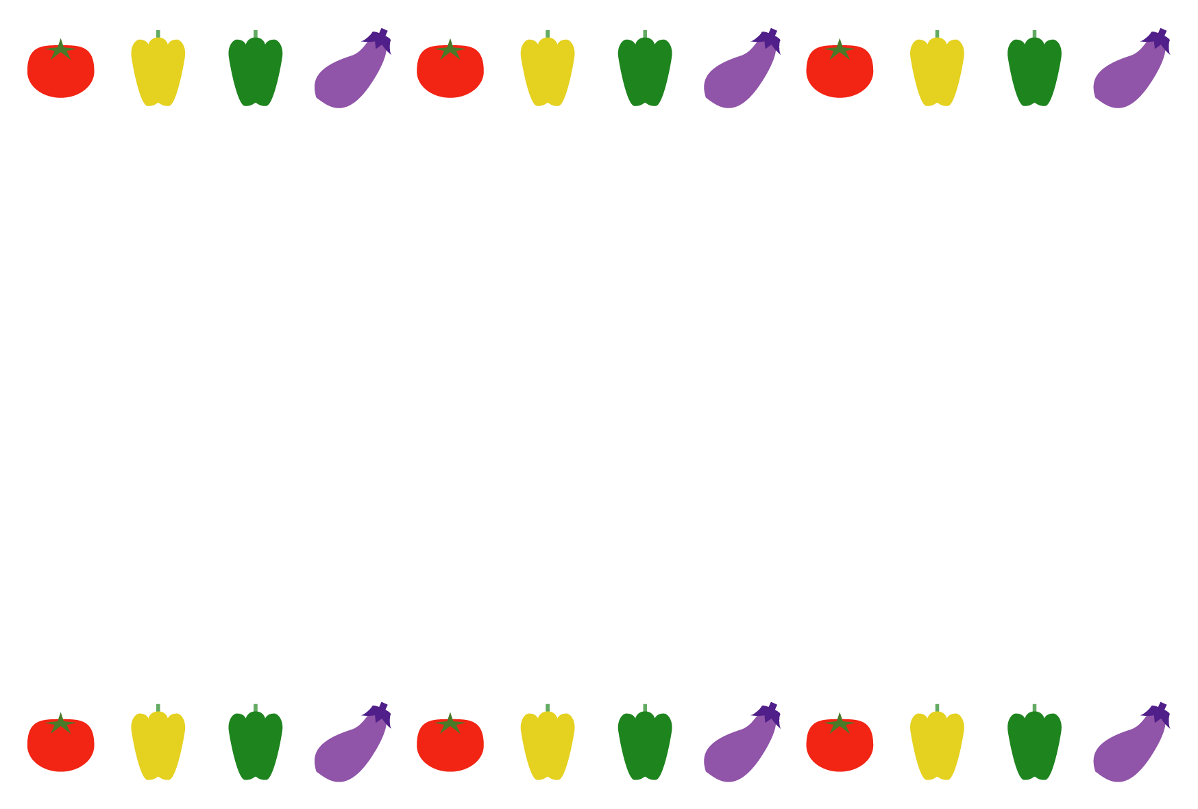夏(野菜)のシンプル枠イラスト-横 <無料> | イラストk