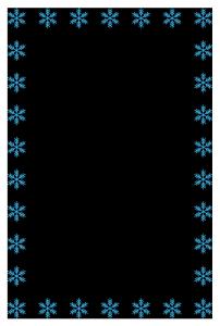 冬(雪の結晶)のシンプル枠イラスト-縦