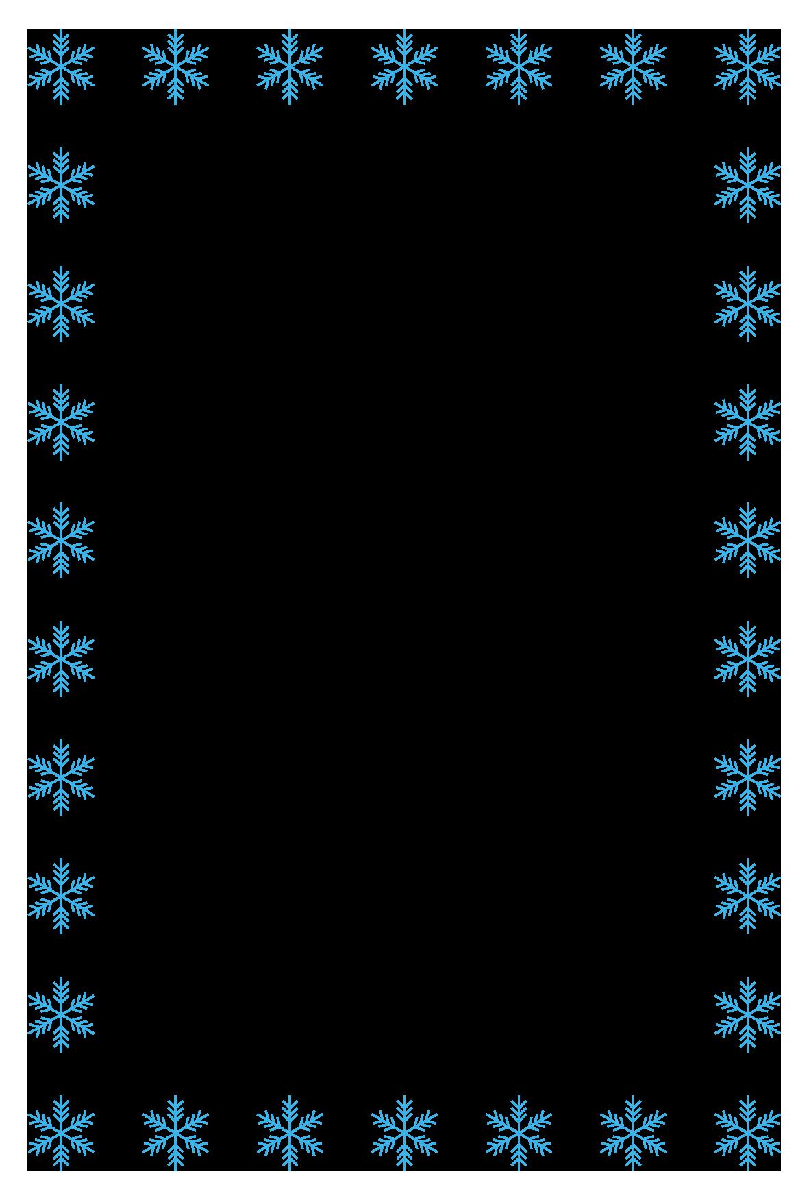 冬(雪の結晶)のシンプル枠イラスト-縦 <無料> | イラストk