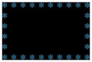 冬(雪の結晶)のシンプル枠イラスト-横