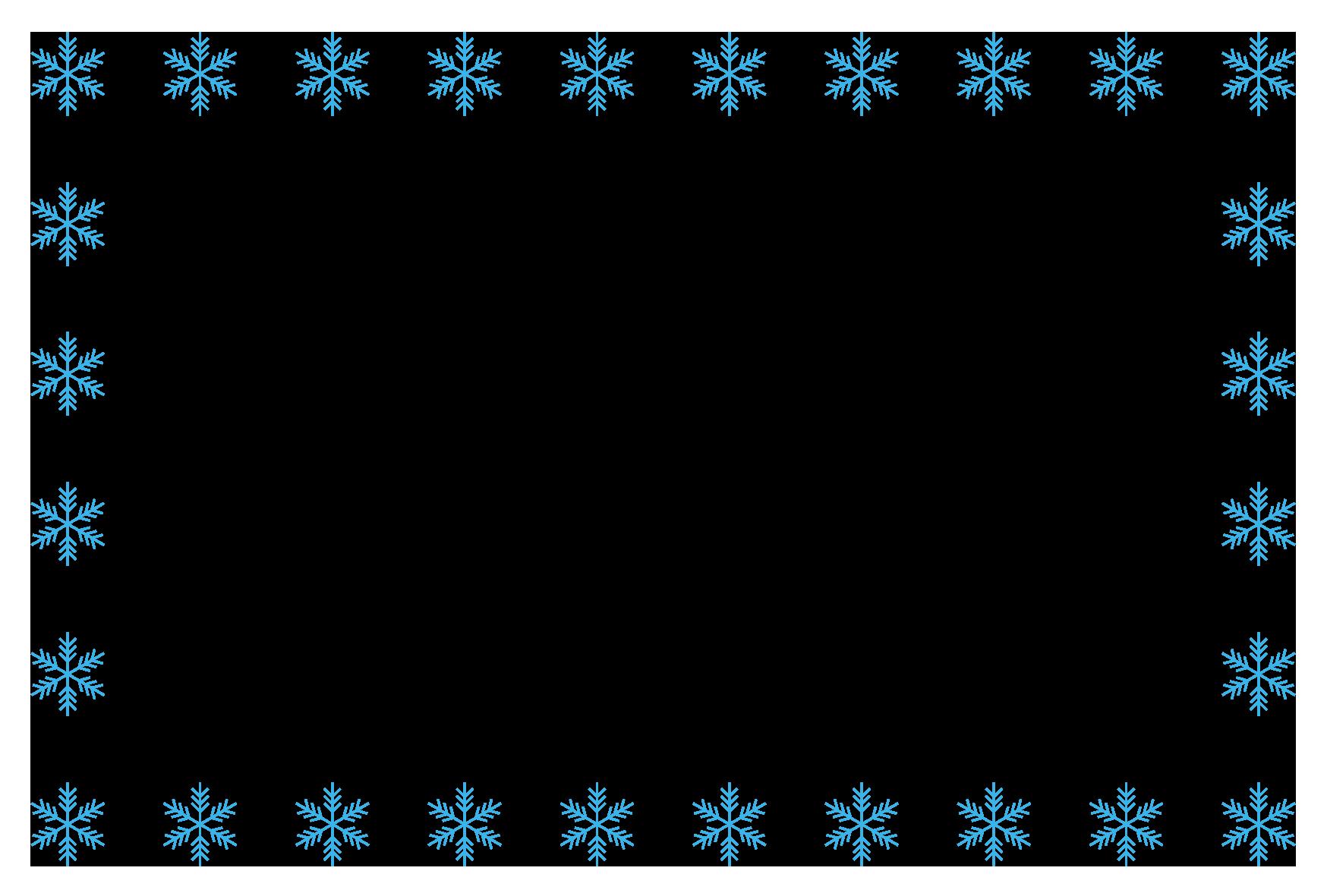 冬(雪の結晶)のシンプル枠イラスト-横 <無料> | イラストk