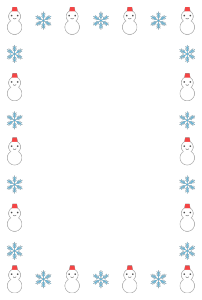 冬(雪だるま)のシンプル枠イラスト-縦