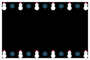 冬(雪だるま)のシンプル枠イラスト-横