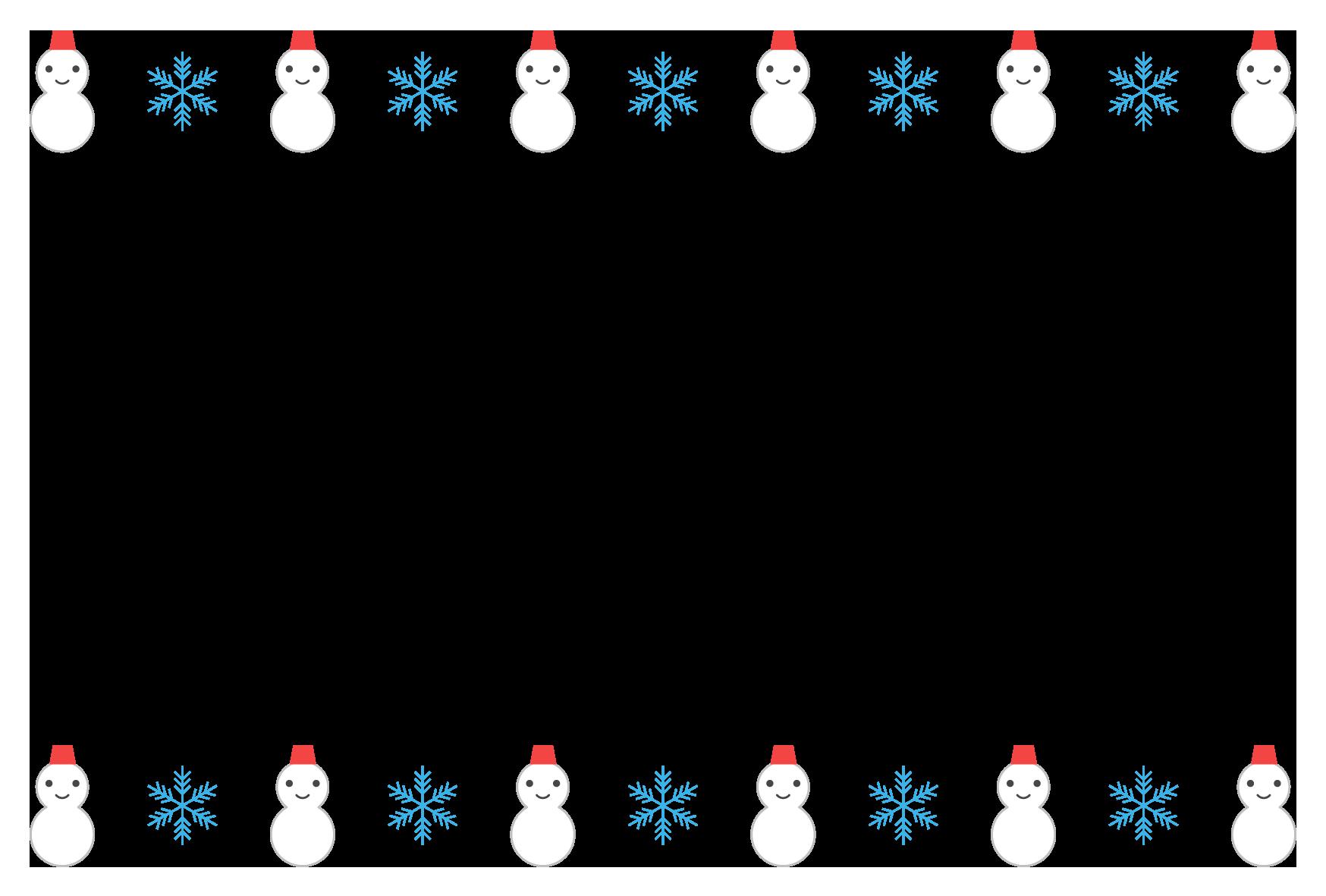 冬雪だるまのシンプル枠イラスト 横 無料 イラストk