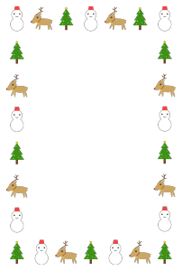 クリスマスのシンプル枠イラスト-縦