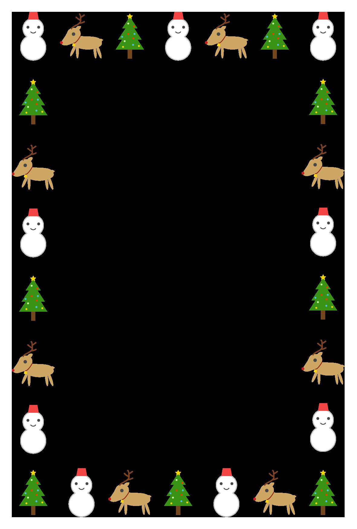 クリスマスのシンプル枠イラスト 縦 無料 イラストk
