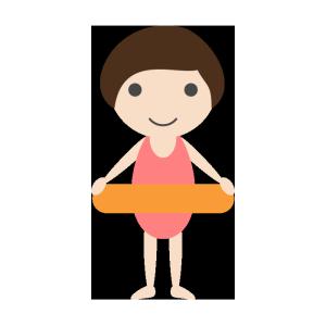 女の子(水着)と浮き輪のシンプルイラスト