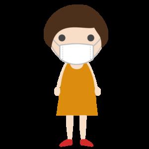 マスクを着用した女の子のシンプルイラスト