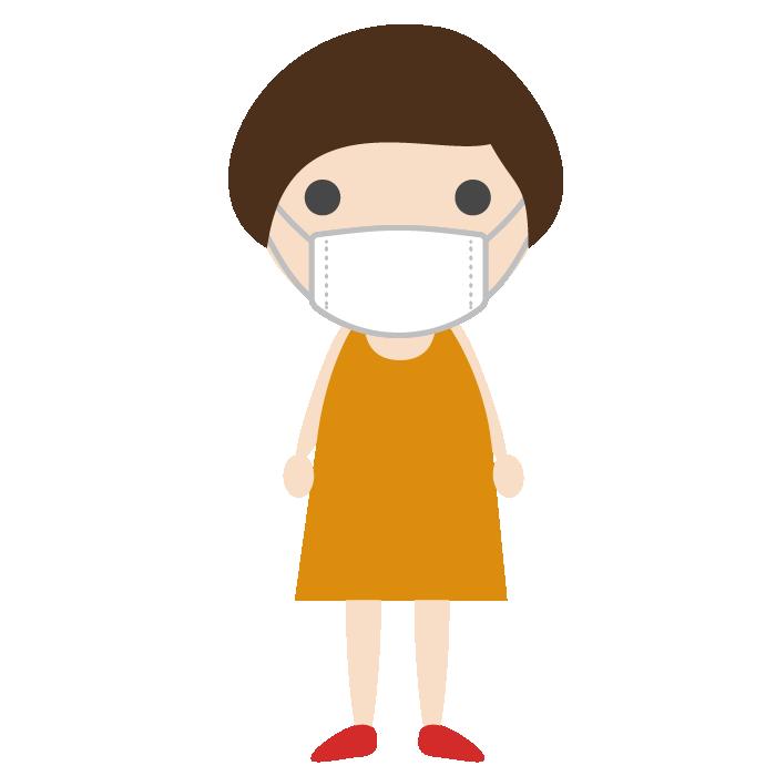 マスクを着用した女の子のシンプルイラスト 無料 イラストk