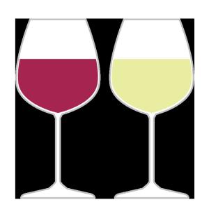 グラスワイン(赤・白)のシンプルイラスト