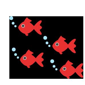 金魚の群れのシンプルイラスト