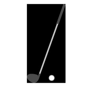 ゴルフの道具(クラブ、ボール)のシンプルイラスト