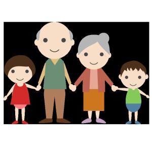 おじいちゃんとおばあちゃんと孫のシンプルイラスト