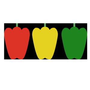 ピーマン(赤、黄、緑)のシンプルイラスト