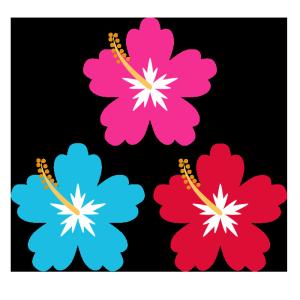 ハイビスカス(ピンク、水色、赤)のシンプルイラスト