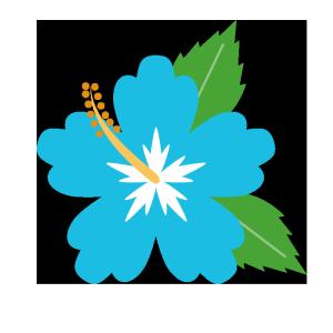 ハイビスカス(水色)のシンプルイラスト