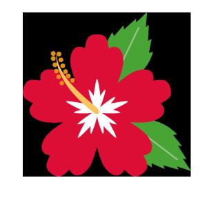 ハイビスカス(赤)のシンプルイラスト