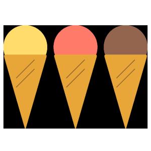 アイスクリーム(バニラ、ストロベリー、チョコレート)のシンプルイラスト